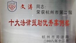 杭州市第二届十大优秀案例奖
